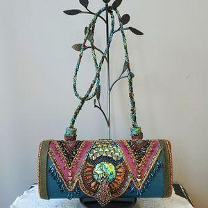 Mary Frances Teal & Red Beaded Clutch/Handbag